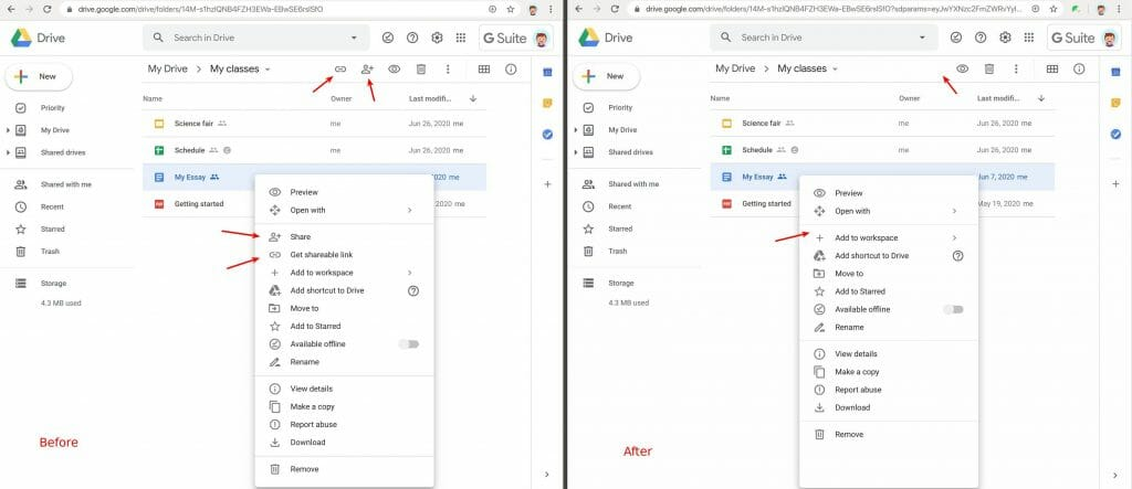 Remove share menus and buttons in Google Drive