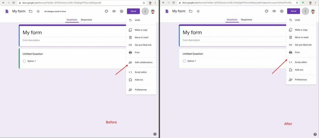 """Remove """"add collaborators"""" (sharing feature) in Google Forms"""