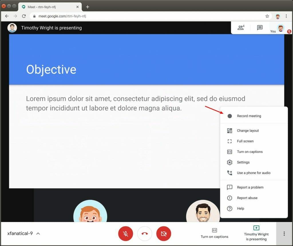 Record Meeting in Google Meet