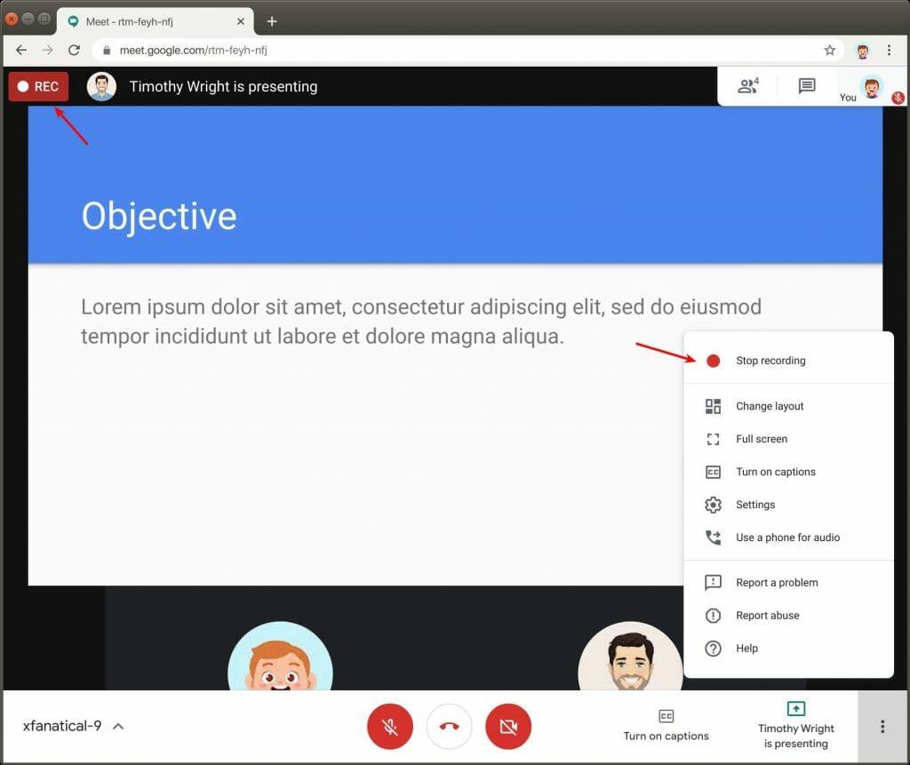 Students stop recording in Google Meet