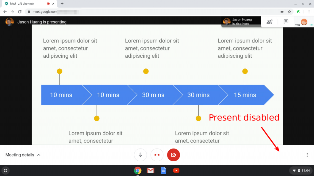 Present feature disabled in Google Meet