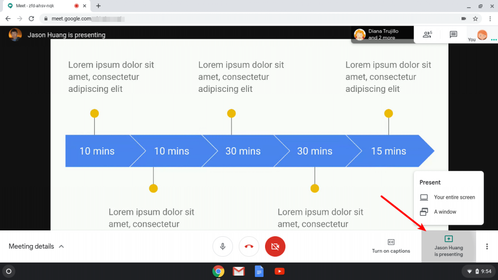 Present button within the meeting in Google Meet