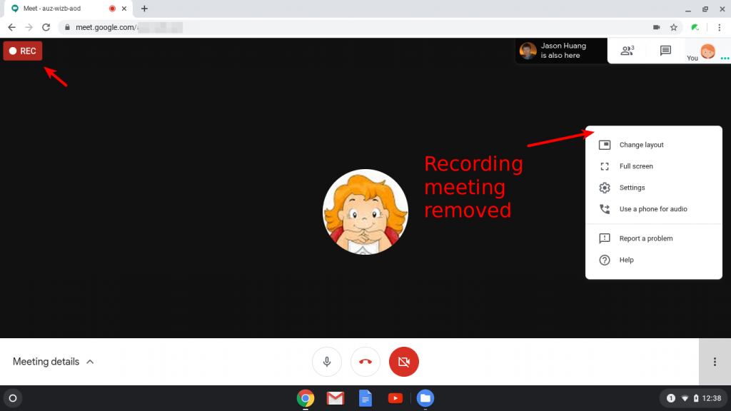 Remove meeting recording feature in Google Meet