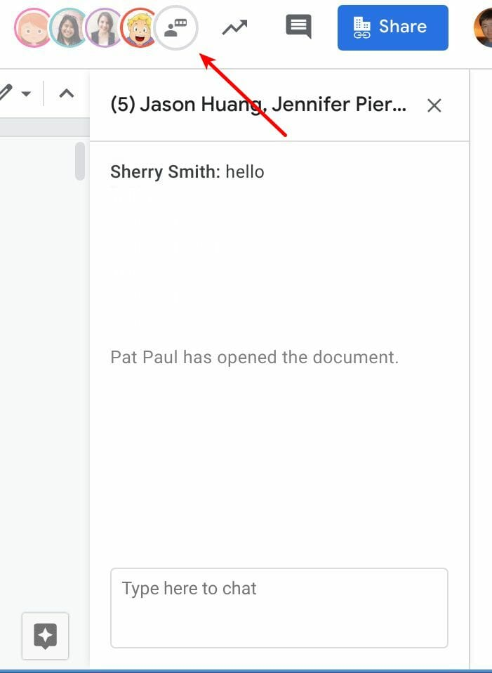 The Chat icon and window in Google Docs