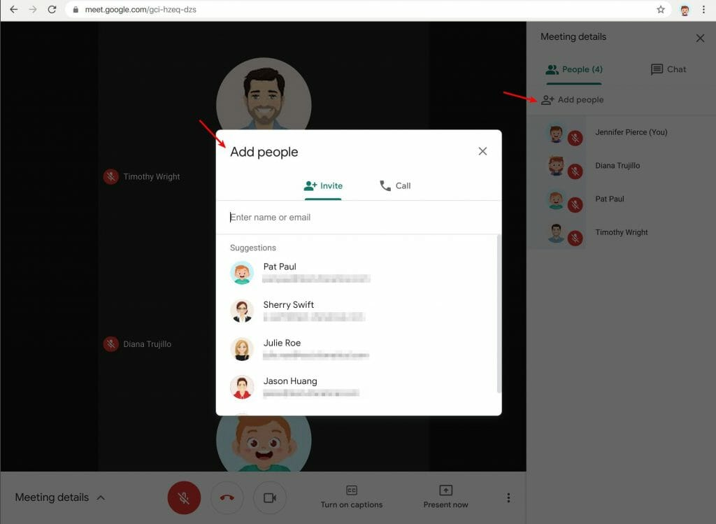 Add people in Google Meet within a meeting