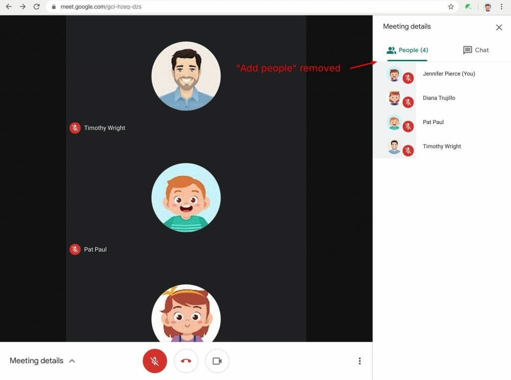 Disable add people to a video meeting in Google Meet