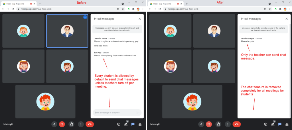 Safe Doc removes the Google Meet chat feature completely and permanently for all meetings