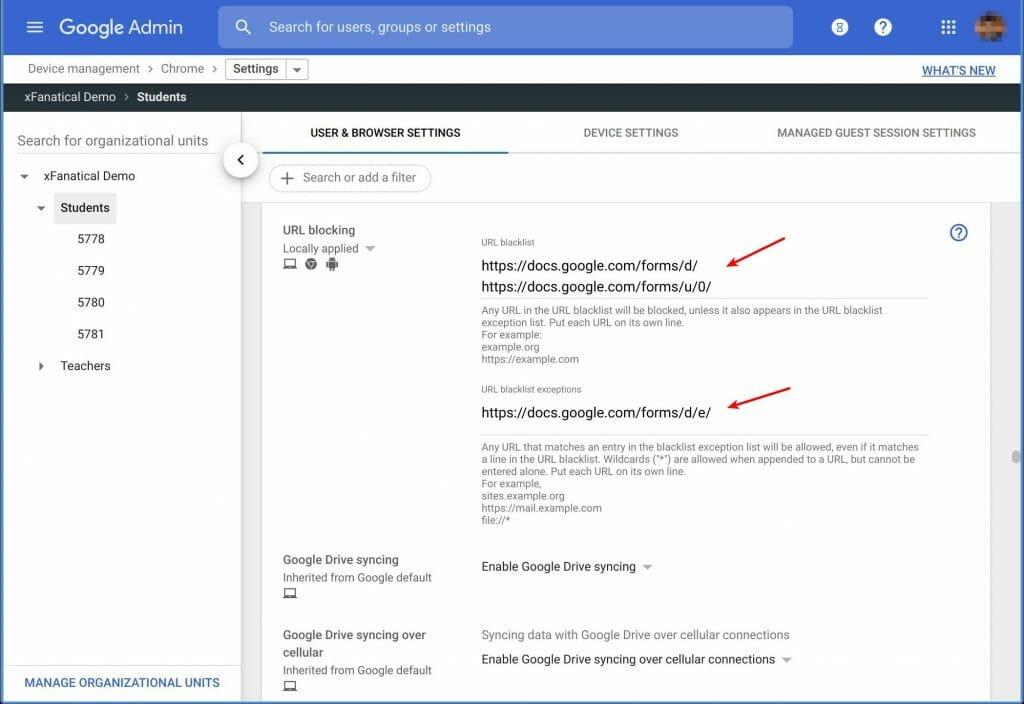 Block Google Forms editing via URL blocking in Admin Console