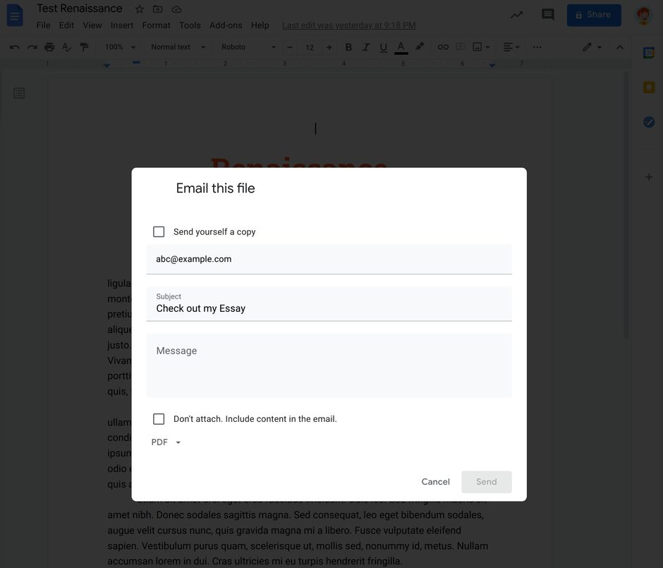 The Email this file dialog in Google Docs