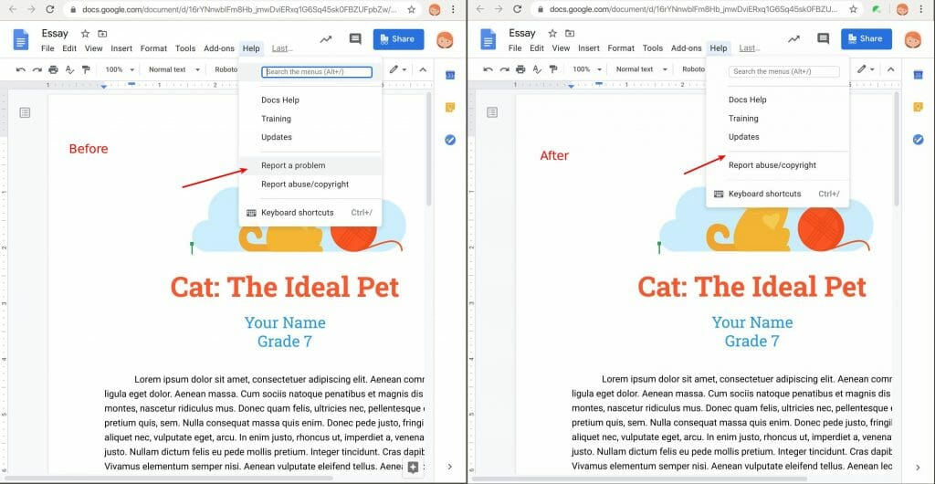 Report a problem removed by Safe Doc in Google Docs