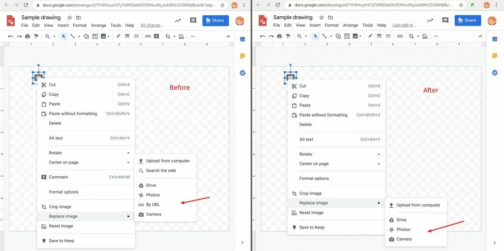 Replacing image by URL option disabled by Safe Doc in Google Drawing