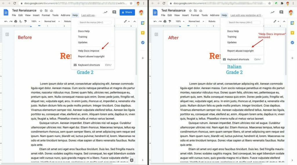 """Help Docs improve"" menu in Google Docs is removed by Safe Doc"