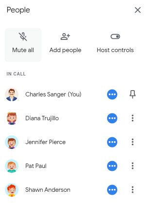 The Mute all button in Google Meet