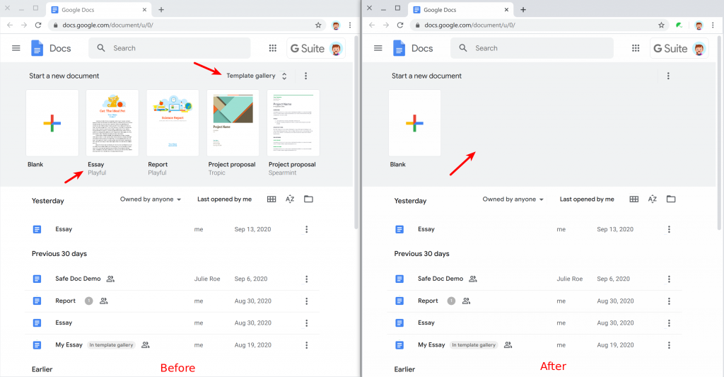 Remove templates in the Google Docs home page