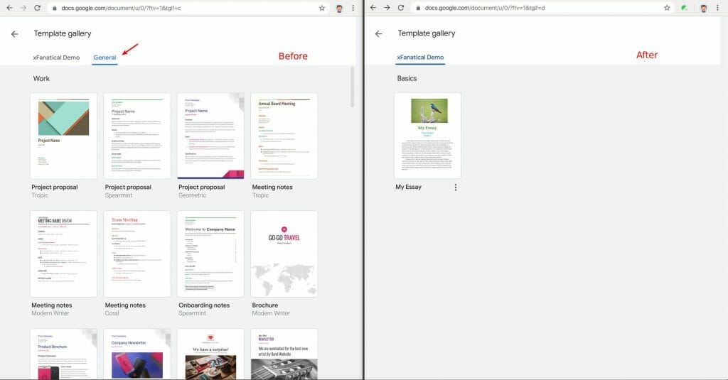 Remove all default Google Docs templates