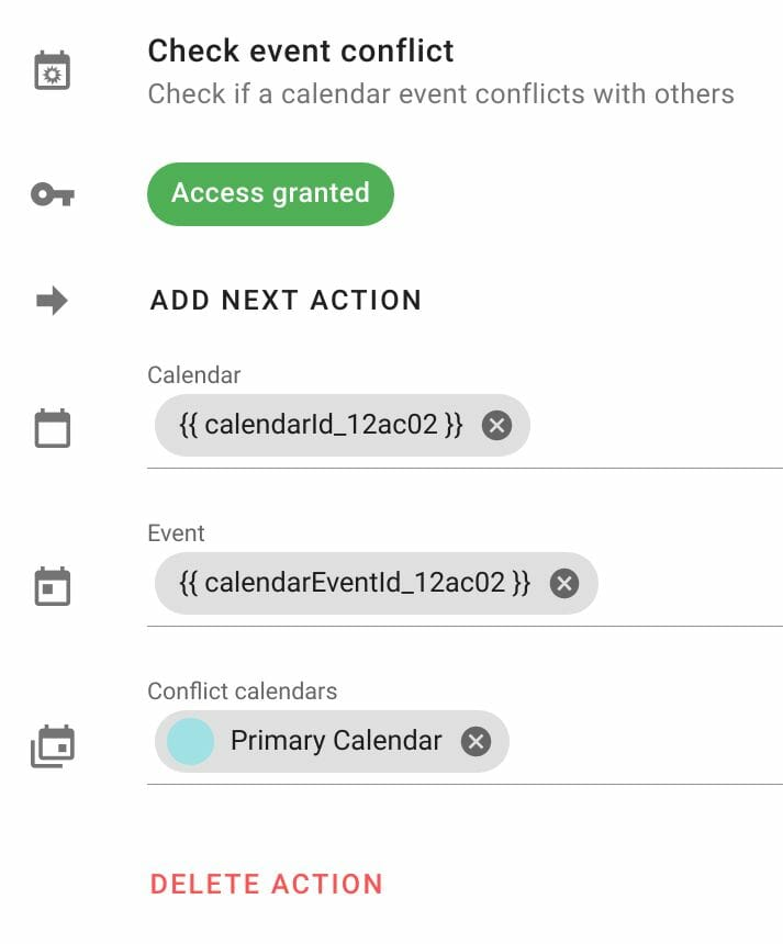 Check event conflict action configuration in Foresight