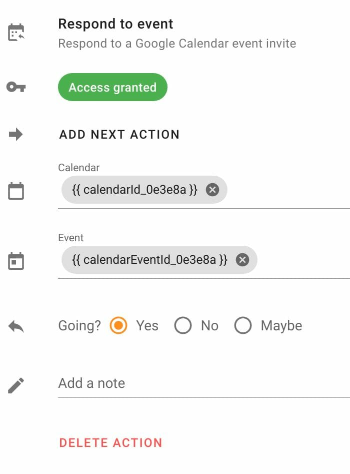 Respond to event action configuration