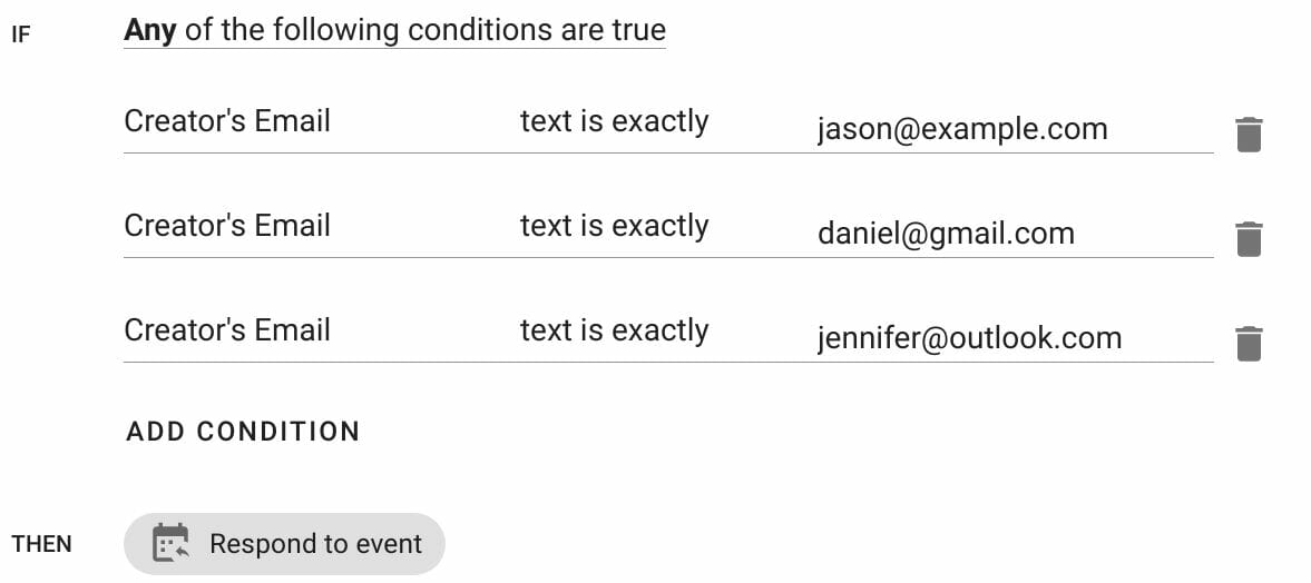 match multiple event creator emails in If action