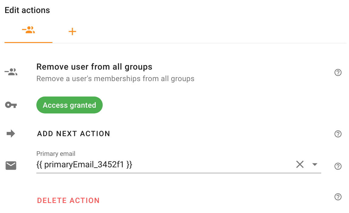 Remve user from all groups action in Foresight