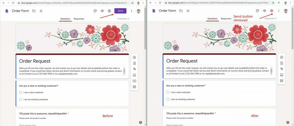 The Send button in Google Forms is removed by Safe Doc