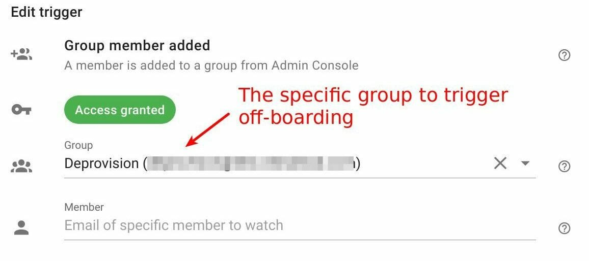 Group member added configuration for off-board