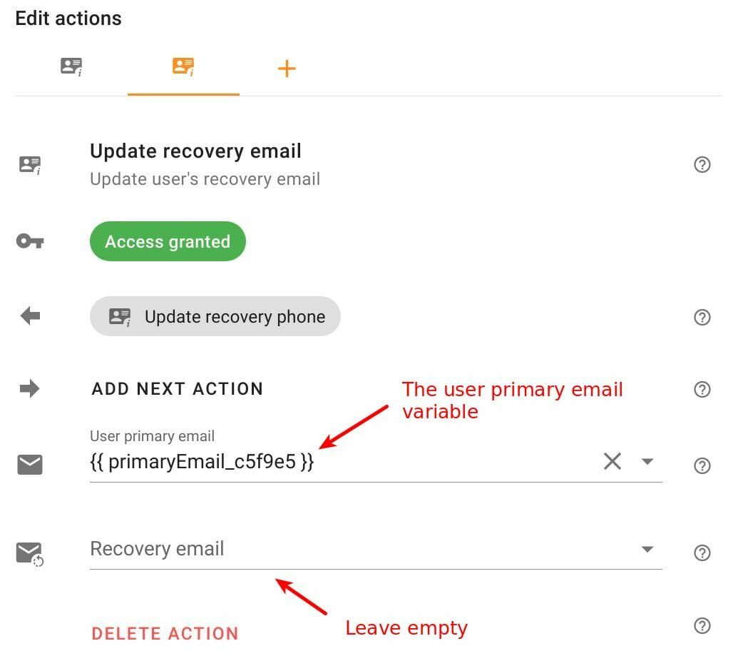 Edit Update recovery email action