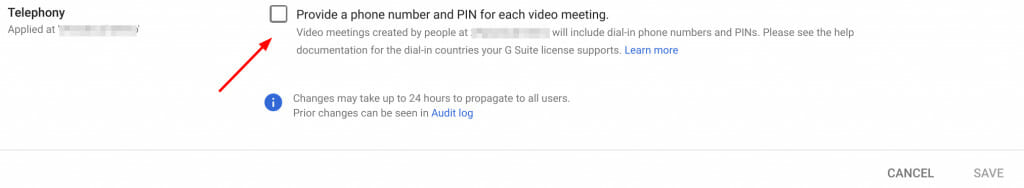 Enable or disable Google Meet phone dial-in info in Admin Console