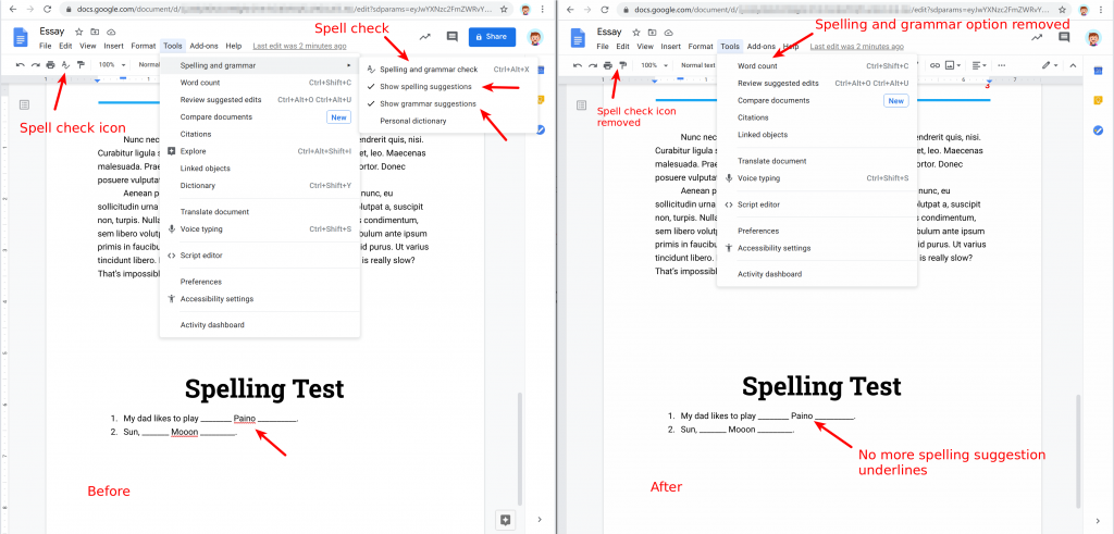 Safe Doc disables spell and grammar checking in Google Docs