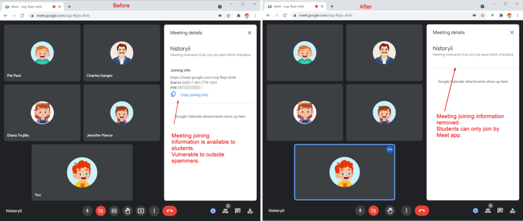Safe Doc removes the meeting joining information (phone number and PINs) on students' Meet
