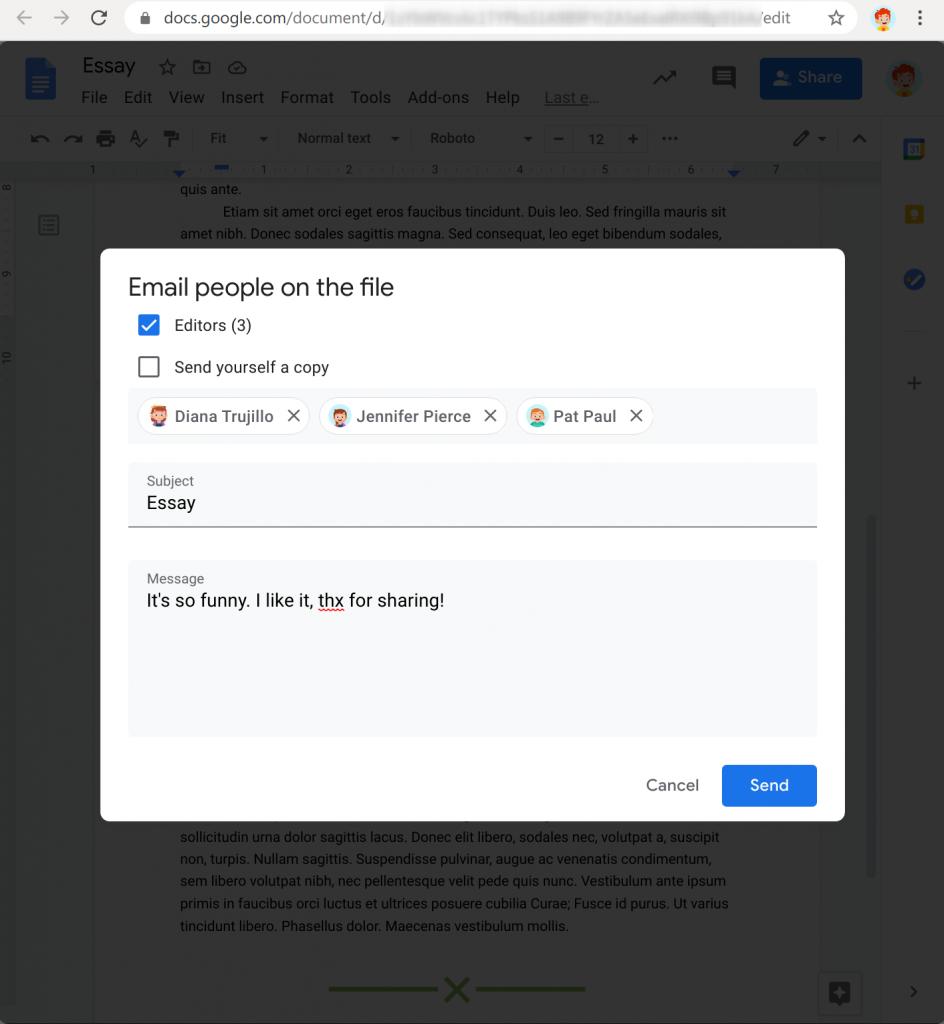 Email collaborators in Google Docs