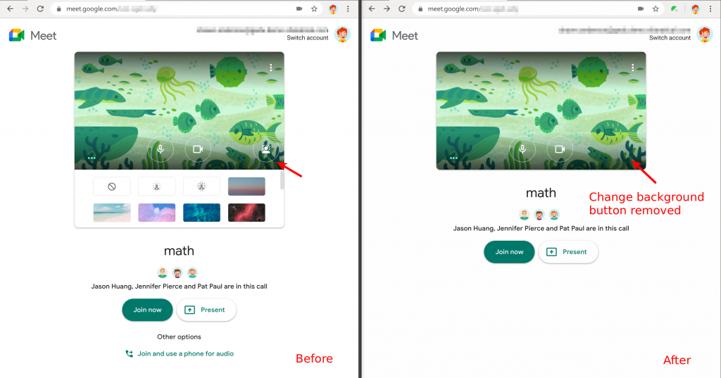 Safe Doc disables changing background in the Google Meet waiting room