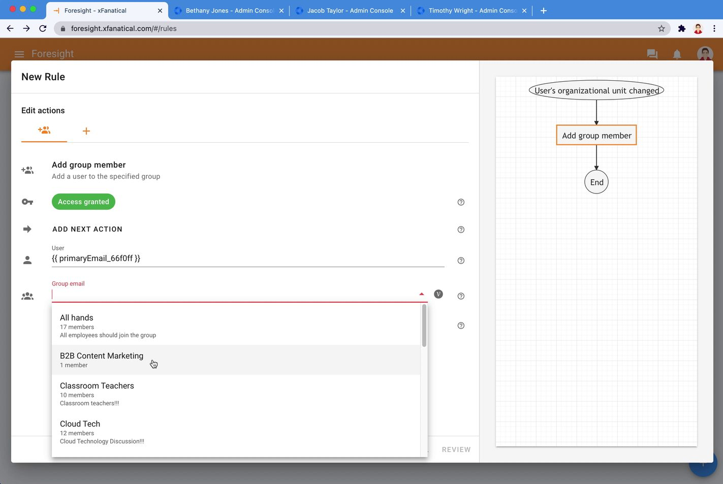 Configure Add group member action in Foresight