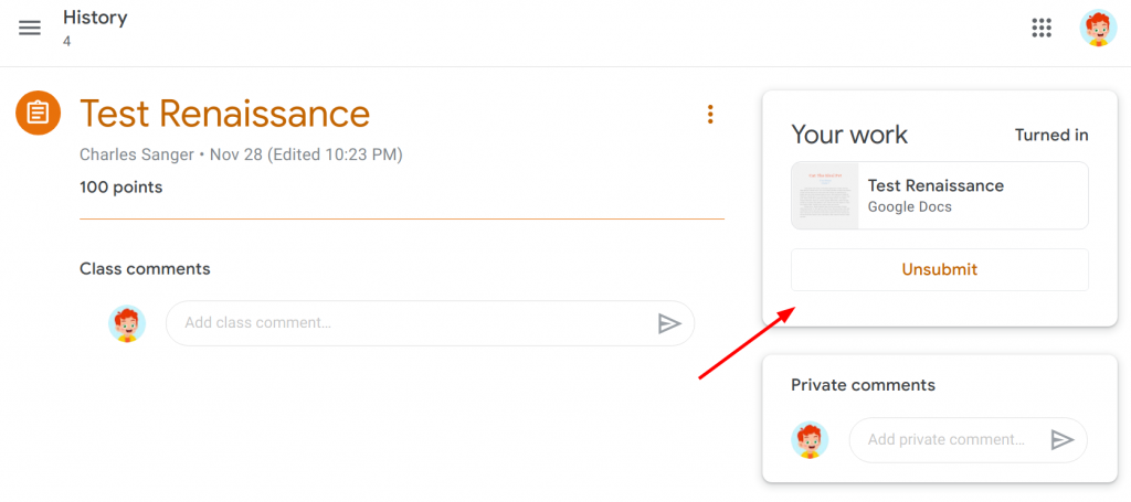 Unsubmit button in Google Classroom