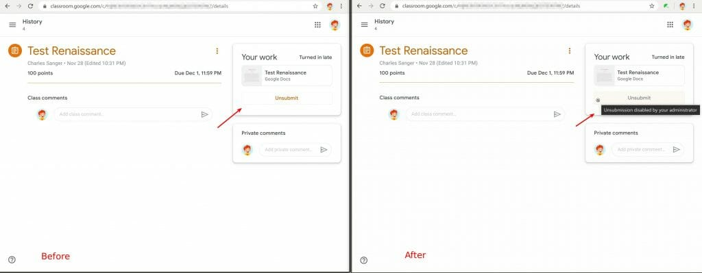 Safe Doc disables the Unsubmit feature in Google Classroom