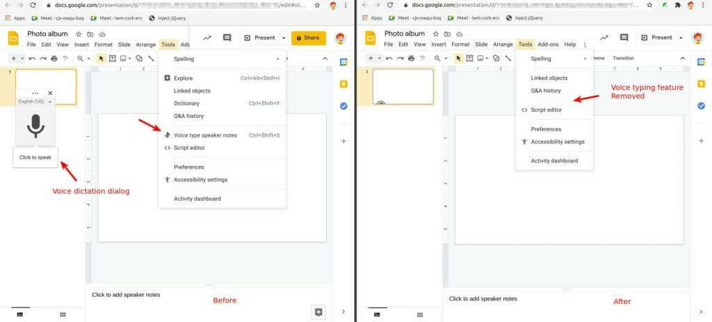 Safe Doc removes the Voice type speaker notes feature in Google Slides