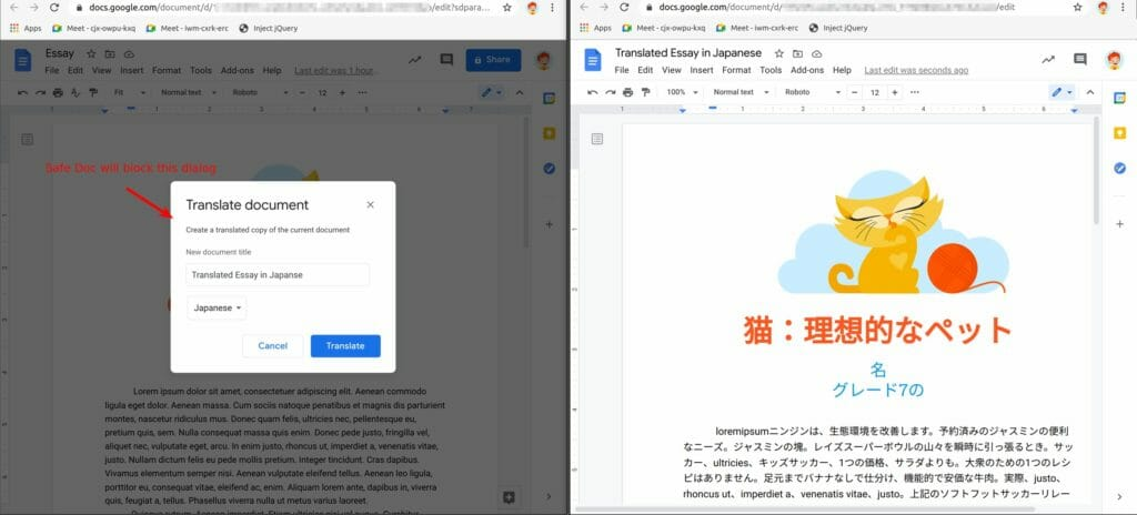The Translate Document feature in Google Docs, translating from English to Japanese. Safe Doc will block the dialog