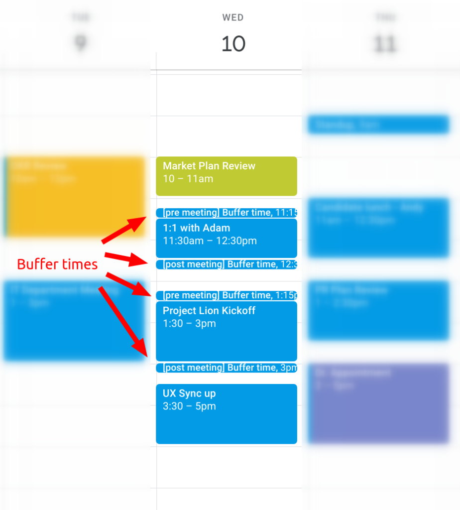 Personal buffer times to prevent overbooking in Google Calendar