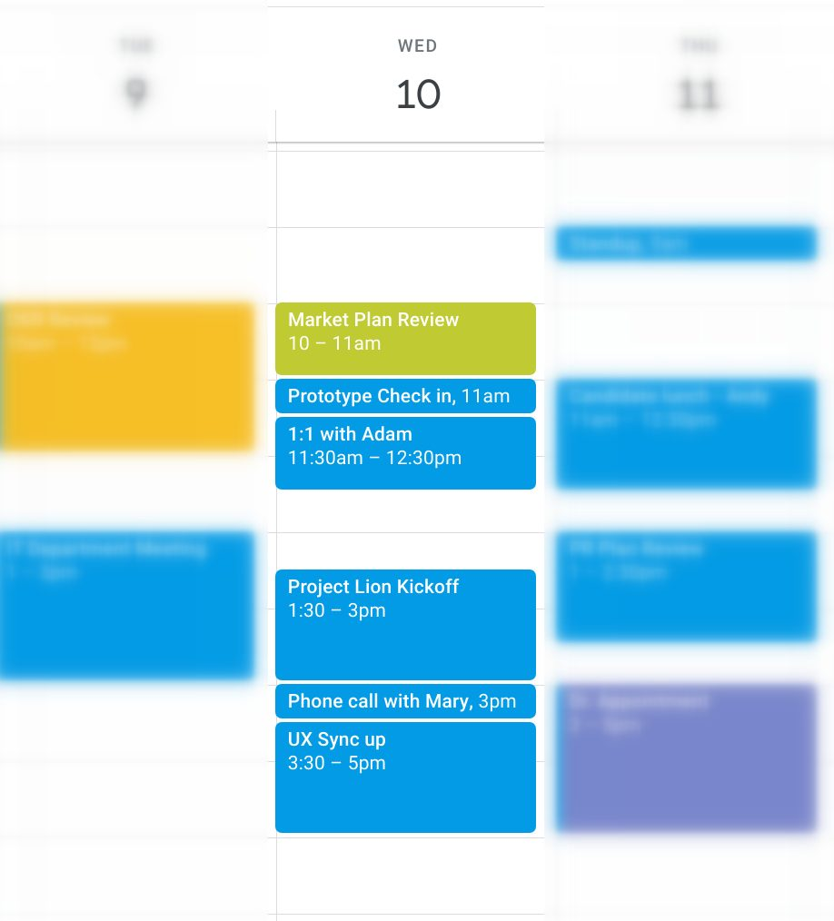 Back-to-back meetings in Google Calendar