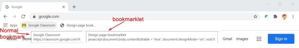 Normal bookmark vs bookmarklet