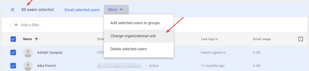 You can only change up to 50 users' organizational unit at a time in Google Admin