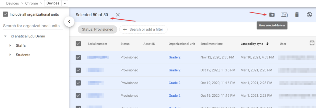 Moving Chrome Devices to another OU from Google Admin Console is inefficient for large quantity