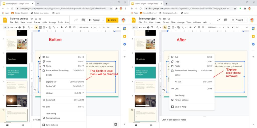 Safe Doc removes the 'Explore xxxx' context menu item that triggers the Explore side panel