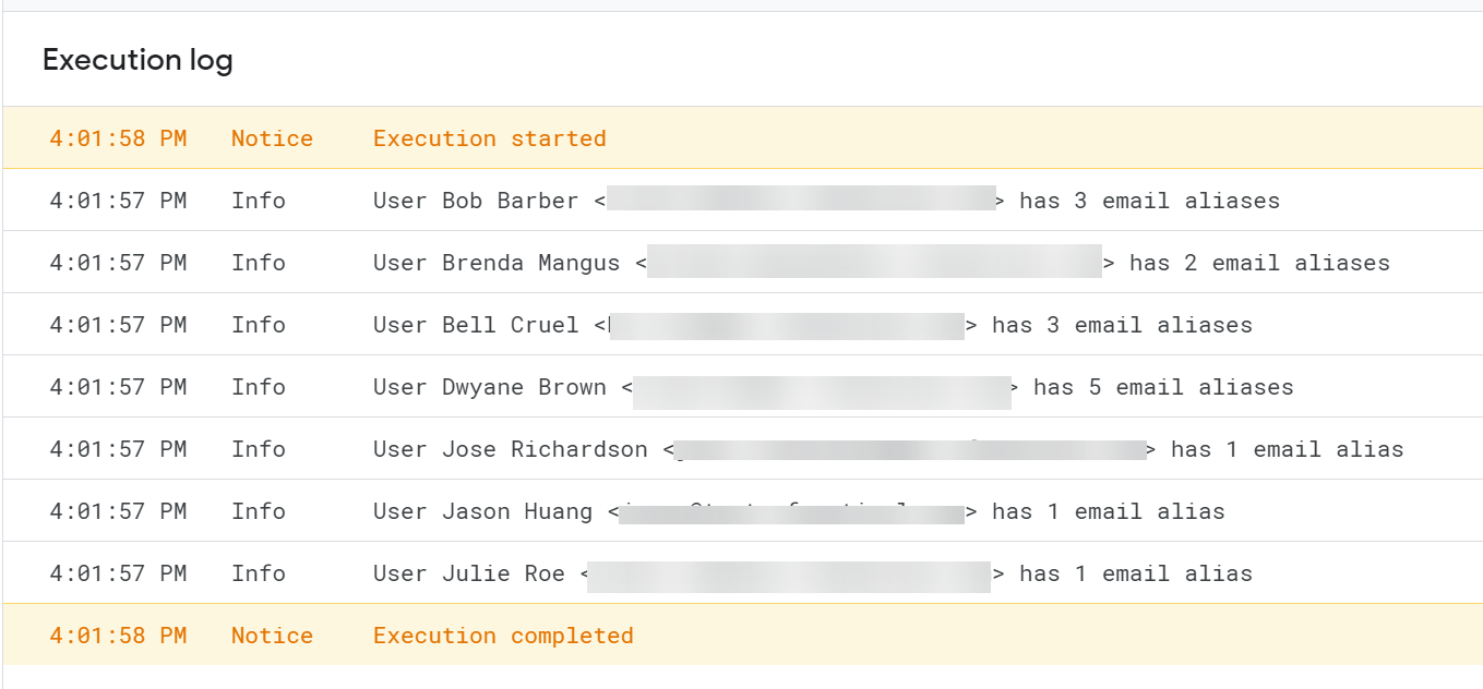 Execution log showing all users with email alises