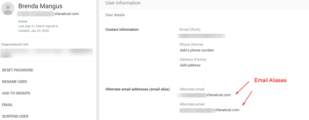 Email aliases in Google Admin Console