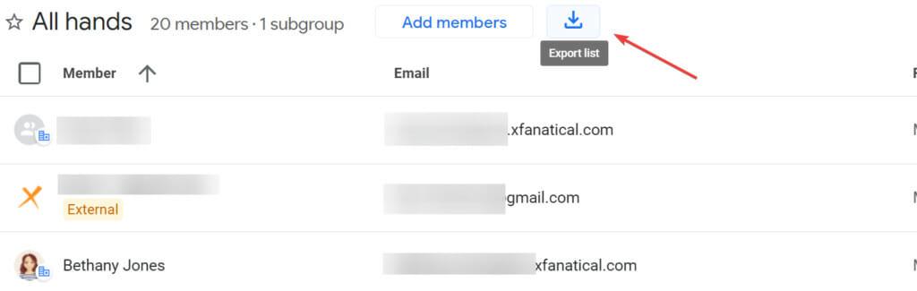 Google group export member list option