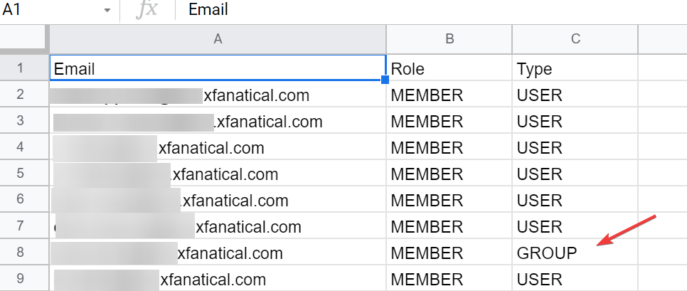 Exported member list of Google Group