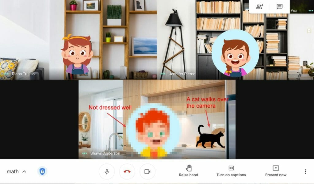 Camera feeds for students can be distracting in Google Meet