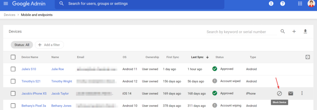 Block a mobile device from Google Admin Console > Devices > Mobile and endpoints