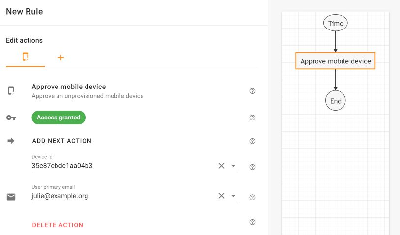 Schedule approving a mobile device in Foresight