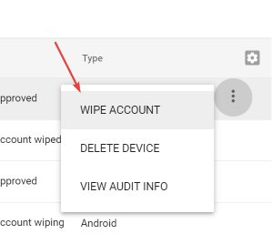 'Wipe account' option for a mobile device in Google Admin Console